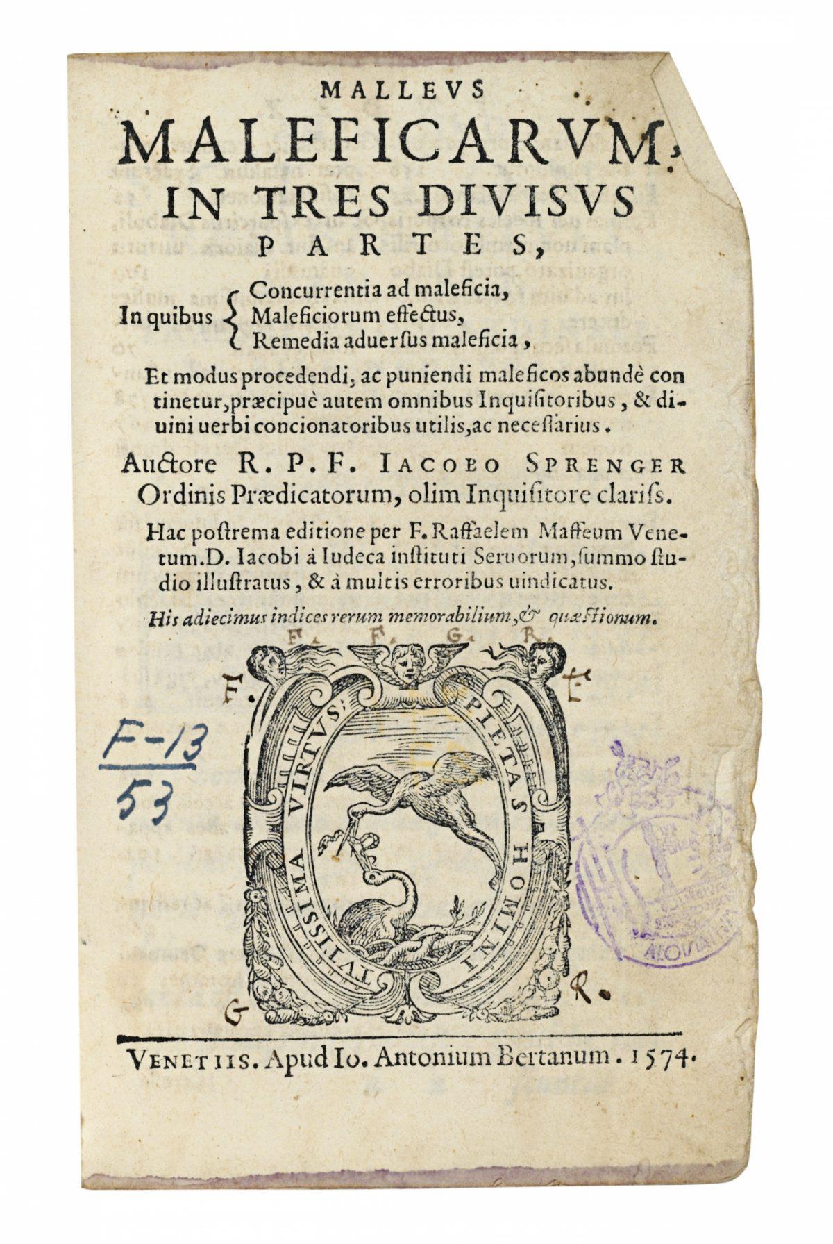 2013 Csk 09702 0350 000Strenger Jacobus Malleus Maleficarum In Tres Divisus Partes In Quibus110800